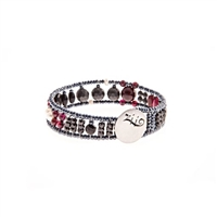 From Ziio's Aki Collection. Narrow Sil Tennis Bracelet. Black Onyx, Spinel, Zircon & Garnet Gemstones with White Pearls, Hematite & Murano Glass Beads on Stainless Steel wire. SS Button Closure. Hand crafted in Italy. Matching Necklace & Earrings avail.