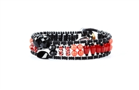 From Ziio's Twilight Collection. This narrow tennis Bracelet is a beautiful blend of Red, Pink & Orange outlined in Black. Coral, Carnelian, Agate, Black Onyx, Brass & Murano Glass Beads. 925 Sterling Silver Button Closure, adjustable in length.