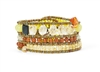 Ziio's Tabiz Collection, this linear beaded Bracelet is like a sunny day in paradise. Yellow Citrine & Orange Carnelian Gemstones are accented with Yellow Zircon. Hand crafted in Italy using Murano Glass seed beads on stainless steel wire.
