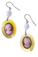 Beautiful hand carved Cameos are backed onto Amber Horn to create these drop Earrings. A single White Agate Gemstone Bead adds an accent of color. Hooks. Rose Gold plated 925 Sterling Silver. Crafted in Italy by Amle.