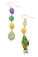 Fun & whimsical asymmetrical Chandelier Earrings by Amle. One Earring has four multi-color Gemstones, Purple Amethyst, Green Jade, Yellow Agate & light Green Quartz. The other has two colored Gemstones & a green Fish Charm. 925 Sterling Silver hooks.