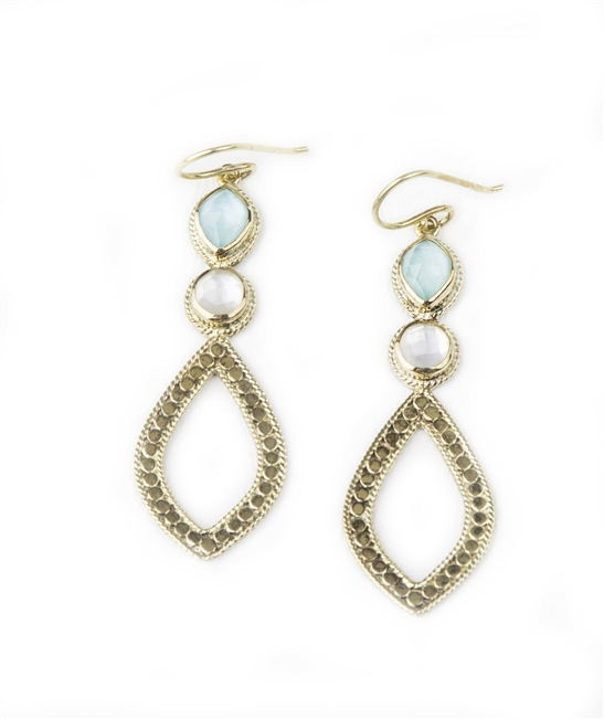 "Gold plated Sterling Silver Drop Earrings by Anna Beck. Turquoise Gemstones with a Mother of Pearl overlay, and Mother of Pearl. Handcrafted in Bali by artisans these Chandelier earrings feature intricate metal work. Length 2 1/2"" X Width 3/4"""