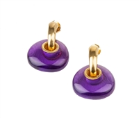 "Add a contemporary feel to your wardrobe with these uniquely cut Amethyst Earrings. A large Purple Amethyst Gemstone is a drop on this brushed Gold plated hoop. Made in Italy by Anticoa. L 1 1 /4"" X W 3/4"""