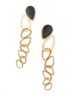 "Light & fun with contemporary chandelier Earrings. Matt Black Onyx in a teardrop shape, create the posts, hold a large hoop with multiple hoops descending. Brushed Gold plated 925 Sterling Silver. Made in Italy by Anticoa. L 3 3/4"" X W 5/8"""