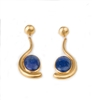 "Long Art Deco drop Earrings with a Blue Lapis Cabachon at the drop. Brushed Gold plated 925 Sterling Silver. Made in Italy by Anticoa. L 2 1/2"" X W 7/8"""