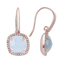 Faceted, light Blue Aquamarine Earrings by Bronzallure.The hinged drop holds a shimmering Aquamarine framed by sparkling CZs which are also inlaid on the front of the hook. Made in Italy, they are finished in an 18k Golden Rose' plating.