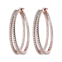 Double Hoop White CZ Earrings