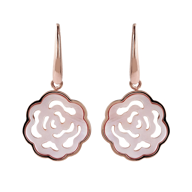 Mother of Pearl Flower Drop Earrings by Bronzallure. The open work of these makes them light and easy to wear - a wonderful alternative to Pearl posts.  Made in Milan, patented Golden Rose' 18K plating finish.  Hooks
