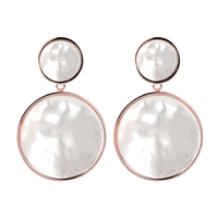 Simple & elegant  Mother of Pearl Drop Earrings  Made in Milan by Bronzallure, finished in their patented 18K Golden Rose' plating. 