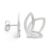 Made in Germany by Bastian, these open work, brushed Sterling Silver Leaf Earrings are the perfect every-day piece. Light in weight, the perfect size, and rhodium plated to prevent tarnishing. Posts. L & W 3/4""