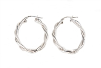 "Oval 925 Sterling Silver Hoops done in a textured and mat braided finish. Made in Italy. W 1"" X L 1 1/2"""
