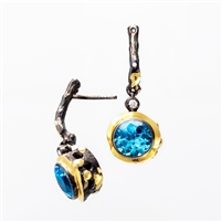 Beautiful Blue Topaz & White Diamond gemstone drop Earrings by Brenda Smith, from her Black Lace Collection.  The Earrings are done in a combination of dark rhodium Sterling Silver and 18k Yellow Gold. 8.25ctw Topaz, 0.21ctw Diamond. Posts. Length 1 3/8""