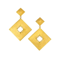 A simple design with a bold statement. These 18k Yellow brushed Gold Earrings, designed by Brenda Smith, are sure to get noticed. The opening edge and drop is accented with 0.51ctw White Diamonds. Posts. Length 2.25""