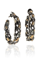 From Brenda Smith's Black & Gold Collection, large Hoop Earrings are in Oxidized Sterling Silver with 18k Yellow Gold accents and White Diamond accents of 1.3ctw. Posts. These are Earrings that will easily take you from day to evening without hesitation.