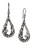From Brenda Smith's Black & Gold Collection, these long oval Drop Earrings are in Oxidized Sterling Silver with 18k Yellow Gold accents and White Diamond accents of 0.75ctw. & White Zircon. These are Earrings that will easily take you from day to evening