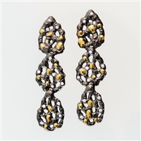 From Brenda Smith's Black & Gold Collection, these long Chandelier Earrings are in Oxidized Sterling Silver with 18k Yellow Gold accents and White Diamond accents of 0.93ctw. Posts. These are Earrings that will easily take you from day to evening