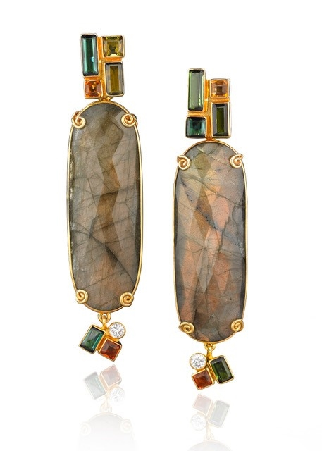 "BrendaSmith Wright Collection. Long cushion-cut Labradorite slabs enhanced at post & drop with square cut Blue/Green Tourmalines 3.75ctw, square cut Citrines 0.73ctw, Pink Sapphire 0.71ctw, round Brilliant Diamonds 0.31ctw.Set in 18k YGold.L 2"" X W 5/8"""