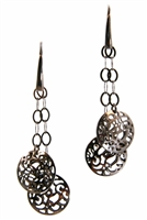 Light weight drop Earrings in a Dark Rhodium Finish. These Sterling Silver Earrings feature a dimensional, laser cut, filigree double Bead Drop from an open link chain. Hooks. Made in Italy by Claudio Faccin.