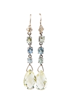 White Sapphires begin a drop of soft Green & Blue Sapphire Gemstones that then hold a Citrine Teardrop Gemstone. A harmonious blend of pastels make this drop Earring perfect to wear with any color. Made in 14k Yellow Gold by DyanneBelle. length 2""