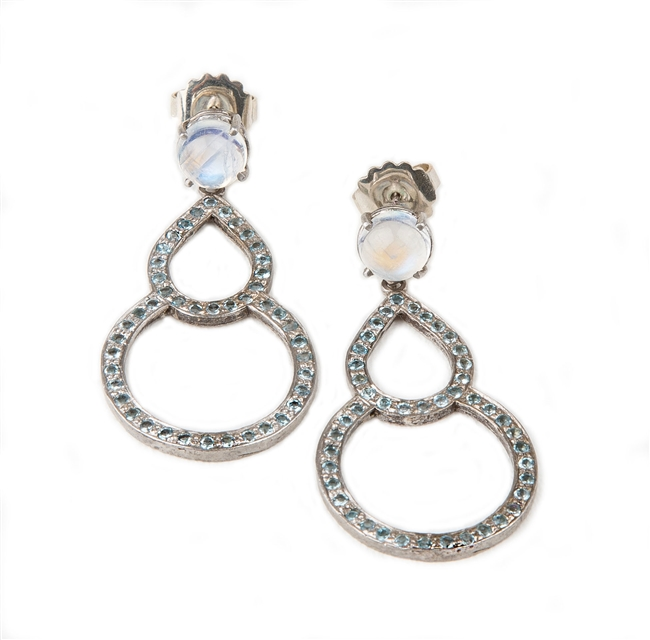 "These soft blue Aquamarine Gemstone Drop Earrings will enhance any outfit. The double drop is in 14k White Gold with the Aquamarines Pave set all around and enhanced by a complimenting Moonstone (aprox. 7mm) set at the post. L 2"" X W 1"""