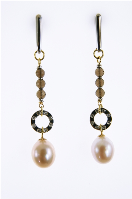 Two-tone 18k Gold Earrings. Done in White & Yellow Gold the drops feature Smokey Quartz Gemstones holding a ring set with pave White Diamonds. A pale Pink Cultured Pearl completes the look. Made in Italy by EllieGioi.
