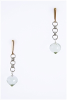 beautiful drop Earrings. Hand crafted in Italy by ElliGioi, the post is in 18k Yellow Gold, followed by chain links in White Gold and a single drop of a faceted soft Green Amethyst tear-drop Gemstone. Wear day or night, casual or dressy.