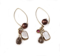 Beautiful, long Chandelier Earrings by Elisa Ilana. Long Gold filled hooks hold a cluster drop featuring a small bezel set Red Ruby, bezel set White Keshi Pearl, a Smokey Quartz Gemstone and a Tuscan Red Tiger-eye bead. Length 3""