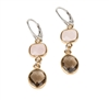 "Two-tone Drop Earring by Frederic Duclos. Bezel set Pink Quartz & Smokey Quartz Gemstones are full of movement and light in weight. Gold plated 925 Sterling Silver, lever backs. L 2"" X W 3/8"""