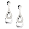 Beautiful, light & easy to wear Sterling Earrings. Perfect for everyday.  double tear-drop shape is accentuated by the contrast of white brushed and polished silver - rhodium plated to prevent tarnishing. By Frederic Duclos. Posts. Length 2 inch.