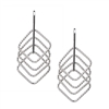 "Beautiful Drop Earring by Frederic Duclos. White Sterling Silver, four laser cut squares descend from a bar drop. Light, easy to wear and with visual movement. Rhodium plated to prevent tarnishing. Hooks 1 1/2"" L X 3/4"" W 