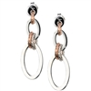 Double Oval Drop Earrings. Polished Sterling Silver with laser cut jump rings in White Silver & Rose Gold plated. Frederic Duclos is known for his use of adding a touch of sparkle to his pieces through laser cutting. Rhodium plated. Posts. length 1 1/2""