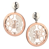 Modern, dimensional Drop Earrings. Two-tone Sterling Silver, White & Rose Gold plated, the back has brushed Sterling Bubbles, while the front has open, floating Bubbles. Posts. 925 Sterling, Rhodium plated. By Frederic Duclos.