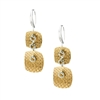 "Done in two-tone White & Yellow Gold plated Sterling Silver, these Earrings feature 2 square Textured Drops. Made in Italy by Frederic Duclos, they are light in weight & perfect for every-day wear. Hooks. L 1 3/8"" X W 1/2"""