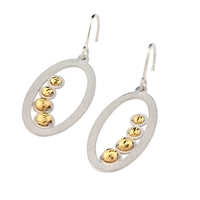 "Two-tone Oval Drop Earring by Frederic Duclos. The Oval Hoop has a Frosted White finish and is finished with a row of four Golden Beads inside. Hooks. 925 Sterling Silver. L 1 1/2"" X W 5/8"""