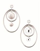 "Oval Hoop Earring in 925 Sterling Silver with a contemporary feel. The solid double drops in the center have a brushed Silver finish, contrasting with the polished Oval rings surrounding them. Made in Italy by Frederic Duclos. Posts. L 1 5/8"" X W 1 1/4""."