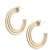 Two-Tone Sterling Silver Hoop Earrings by Frederic Duclos