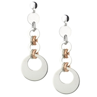 "A Frederic Duclos update on your classic Sterling Silver Drop Earring. His ""Freida"" Earrings features three polished White 925 Sterling rings that graduate in size. They are connected with White & Rose Gold plated laser cut rings. Rhodium plated. Posts."
