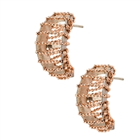 "Up date your basic Hoop Earrings with these unique ones by Frederic Duclos. A dimensional White Sterling Silver hoop has been wrapped with laser cut Rose Gold plated Sterling Wire. Modern & fun. 925 Sterling Silver. Posts. Length 1"". Made in Italy"