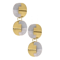 "Double Drop Puzzle Earrings with depth & dimension. The geometric pieces fit together like a puzzle and are done in a Brushed Silver & Yellow Gold Plated. Made in 925 Sterling Silver by Frederic Duclos. Posts, hinged drop. Length 1 1/4"" X Width 1/2""."