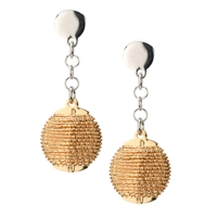 Add sparkle to your outfit with these 2-tone Gold Solar Wrapped Drop Earrings by Frederic Duclos. A dimensional round Bead has been Yellow Gold plated, then wrapped with laser cut Gold plated Sterling Silver wire. Posts and chain in White Sterling Silver.