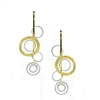 "Two-tone, abstract Circle Drop Earrings By Frederic Duclos. The rings are done in White laser cut Sterling Silver & Yellow Gold Plated. They are sure to garner you many compliments. Hooks. L 1 3/4"" X 1/2"" W