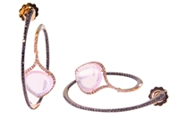 One-of-a-kind Designer Earrings. Crafted in 18k Rose Gold descending from the center of the Hoop is a cushion cut Pink Quartz Gemstone framed by pave set White Diamonds. Black Diamonds on face of front Hoop. 2.0ctw gemstones. Made in Italy