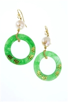 Limited Edition Designer Drop Earring by JJewels. Oriental thene - these Chandelier Earrings feature a large White Baroque Pearl holding a Green Jade ring with Golden Oriental Letters. The connector ring between the two has pave White Diamonds