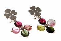 "Fun, unique & colorful - an 18k White Gold Clover Leaf Post holds a four Gemstone drop of mixed color Tourmaline Gemstones with a White Diamond at the center. Made in Italy by Leaderline. 22.85ctw Gemstones. Leverbacks L 1 3/4"" X W 1"""
