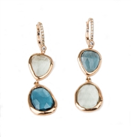 "Alluring asymmetrical Earrings by J Jewels. Fun, unique Drops feature faceted Green Amethyst & Blue Topaz bezel set Gemstones alternating within the pair. Lever back posts hold 0.31ctw of pave set White Diamonds. Made in Italy, 18k Gold. L 2"" X W 1/2"""