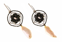 Stunning Drop Earrings - A Black Onyx Gemstone flower is at the center and framed by a double setting of pave White Diamonds and Black Diamonds (1.30ctw). White Diamonds accent the flower and the Post.  A Keshi Pearl drop. 18k gold, made in Italy