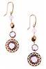 The warmth of the Italian Rose Gold enhances the beauty of the Purple Amethyst. These designer Drop Earrings have style with three cuts of the Gemstones growing in importance & illumination. Bezel set & Halo set, they simply radiate. Madein Italy by Zocca