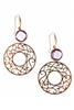 A bezel set Purple Amethyst Gemstone sets off the style in these beautiful Drop Earrings. A laser, lace cut, Filigree Gold Ring adds impact as the drop. Made in Italy by Zoccai in 18k Rose Gold. Hooks