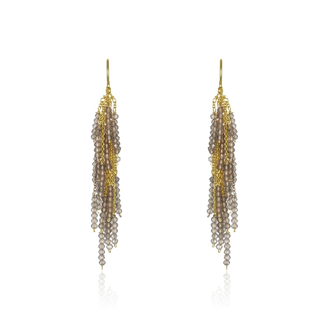 Firecracker Chandelier Earrings will light up any outfit. From multi-lengths of gold chain descend beads of Labradorite Gemstones - the perfect neutral for any outfit. Made in 14k Gold Filled wire & chain by Mabel Chong, San Francisco. Length 2""