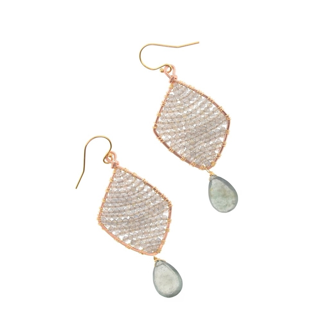 "Mabel Chong's Kite Earrings are woven at the center with soft silver Labradorite Gemstones. These have an Aquamarine Teardrop Gemstone drop. Made in 14k Gold Filled Wire. L 2 1/4"" X W 1"""